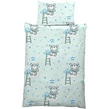 Kinderbettwäsche Babybettwäsche 100% Baumwolle 40x60 cm + 100x135 cm (Teddy blau)