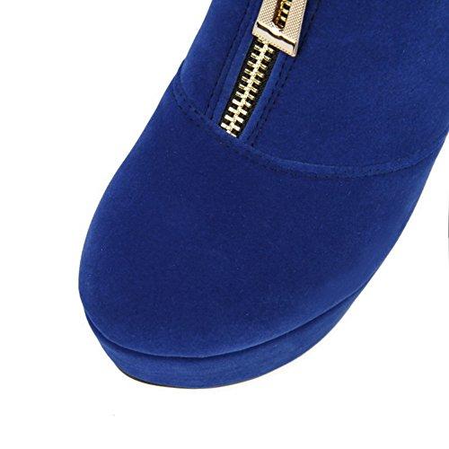 VogueZone009 Damen Reißverschluss Rund Zehe Stiletto Nubukleder Niedrig-Spitze Stiefel Blau