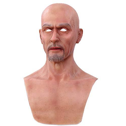 HSNC Cosplay Alter Mann Maske Sexy Bart Silikon Crossdresser Maskerade Weiblichen Kopf Handgemachte Make-Up Transgender Erwachsene Masken Für Halloween