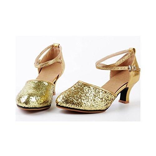 OCHENTA Scarpe da Ballo Latino/Sala da Ballo/Standard Tacco - Donna Camoscio Gold
