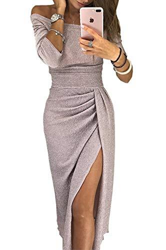 ZIYYOOHY Damen Elegant Schulterfrei Abendkleider Midi 3/4-Arm Glänzend Hoch Geschnitten Kleider Cocktailkleid (M/38, Beige)
