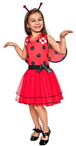 Magicoo süßes Marienkäfer Kostüm Kinder Mädchen - Faschingskostüm Marienkäfer Kind inkl. Kleid, Fühler & Flügel (110/116)
