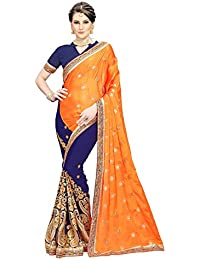 [Sponsored]Siddeshwary Fab Women's Georgette And Silk Saree With Blouse Piece ( Orange | Blue )