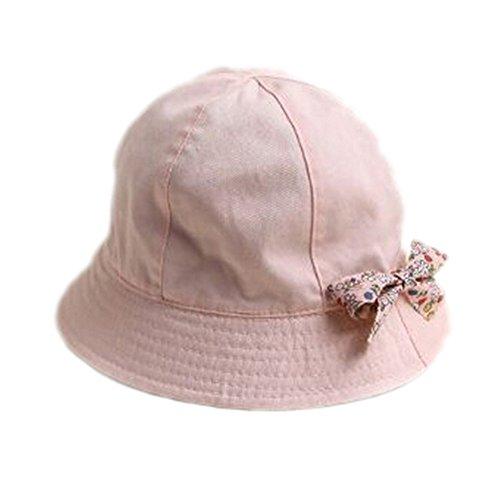 Rosa Eimer Hut (Baby Kleinkind Mädchen Mode Frühlingsherbst Schleife Dekoriert Duplex-Hut Eimer Hut Baumwoll-Hut Kinder Mütze, Rosa)