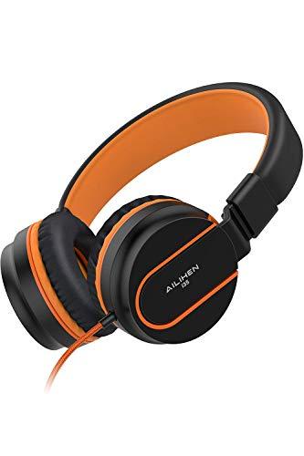 AILIHEN I35 Cuffie per bambini con microfono Cuffie per ragazzi pieghevoli da 3,5 mm per telefoni cellulari da scuola per ragazzi- arancio