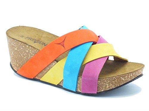 Sandali Pregunta in nabuk multicolore con zeppa alta (Taglia 40)