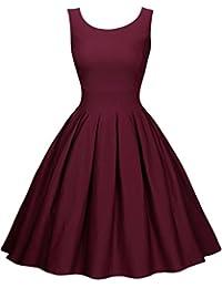 Miusol Damen Elegant Rundhals Trägerkleid 1950er Retro Polka Dots Cocktailkleid Faltenrock Kleid Blau EU 36-46