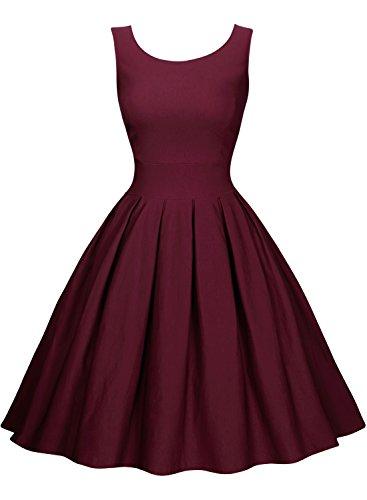 Miusol Damen Elegant Rundhals Traegerkleid 1950er Retro Cocktailkleid Faltenrock Kleid weinrot Groesse S - 4