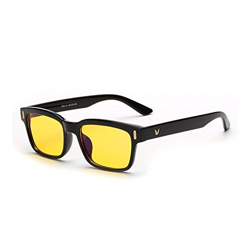 Cyxus luce blu filtro occhiali protezione uv,anti affaticamento della vista,computer bicchieri,unisex(uomini o donne),nero montatura lenti gialle