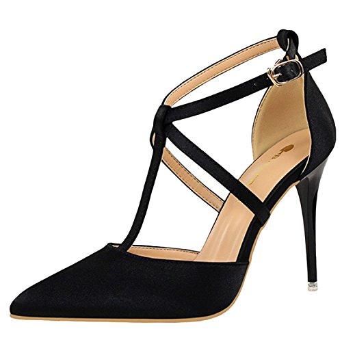 Oasap Women's Fashion Pointed Toe Cross Buckle Stiletto Sandals Black