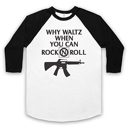 Inspiriert durch Lost Boys Why Waltz When You Can Rock N Roll Frog Brothers Unofficial 3/4 Hulse Retro Baseball T-Shirt Weis & Schwarz