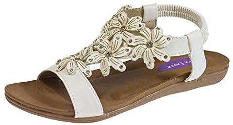 Lora Dora Womens Elastic Strap Diamante Flower Sandals Ladies Open Toe T Bar Shoes Size UK 3-8