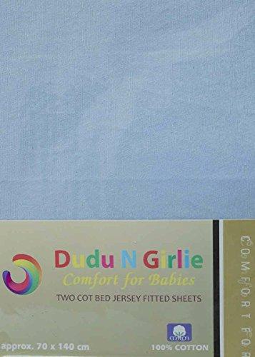 DuDu N Girlie Mini Kinderbett Spannbettlaken, Baumwolle, 50cm x 100cm, 2-teilig, blau -