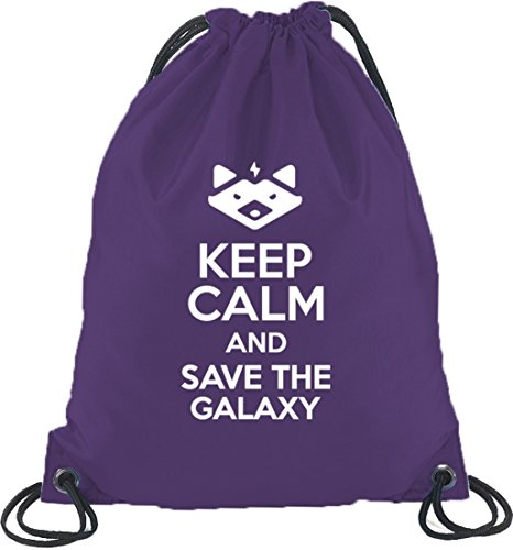 Shirtstreet24, Keep Calm And Save The Galaxy, Turnbeutel Rucksack Sport Beutel Lila