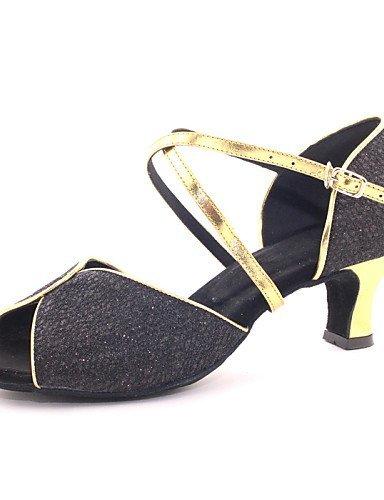 shangyi pas personnalisables–talon compensé–cuir–Latin–Femme noir - noir