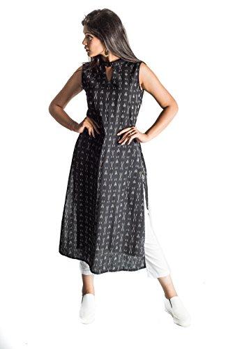 Bliss Black Ikkat Print Sleeveless Stylist Kurti