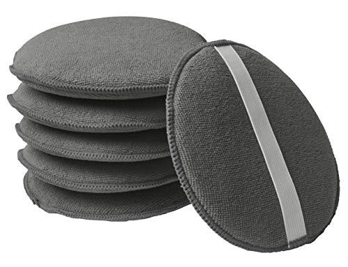 Kinhwa applicatore di cera a microfibra applicatori in spugna per cera lucidante,pad per pulizia auto e veicoli diametro 12.5cm 6 pezzi grigio