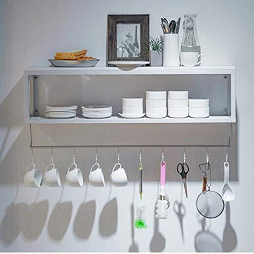 MU Haushalts-Regale, die Küchen-Wand-Speicher-Kaffeetasse-Halter-Wand-hängende Schwarze weiße Gestelle beiseite Legen,Weiß,80 * 20 * 45 cm