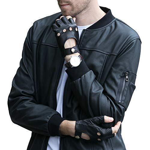 rlose Schaffell Autofahrer Lederhandschuhe Ungefüttert Halbfinger Handschuhe Winter Leder, Schwarz XXXL/11.0