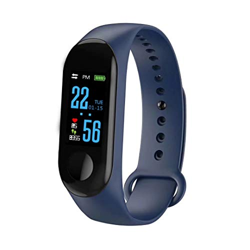 ZZH Smart Wristband Intelligente Orologio Impermeabile IP68 colorato Screen cardiofrequenzimetro Oxygen Sport - Blu