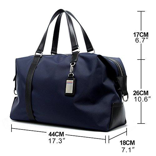 bb112c7206bee BOPAI Umhängetasche Unisex Schultertasche Handtasche Reisetasche  Wasserdicht Handgepäck Bordgepäck Reisegepäck Leder und Nylon Schwarz Blau