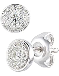Naava Women 9ct (375) White Diamond Stud Earrings PE20156W