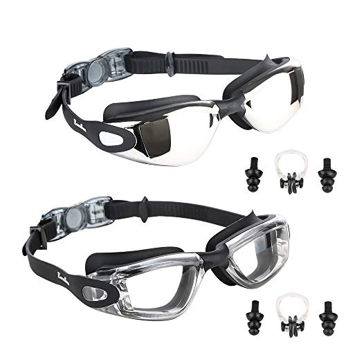 26788add73 Eocusun Gafas de Natación, 2 Pack Swimming Goggles Anti Fog y Protección  UV, Vista