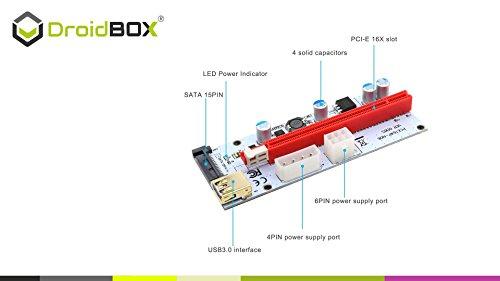 6-Pack PCIe VER 006C 16x bis 1x Powered Riser Adapterkarte mit 60cm USB 3.0 Verlängerungskabel & 6-Pin PCI-E zum SATA Netzkabel – GPU Riser Adapter – Ethereum Mining ETH - 5