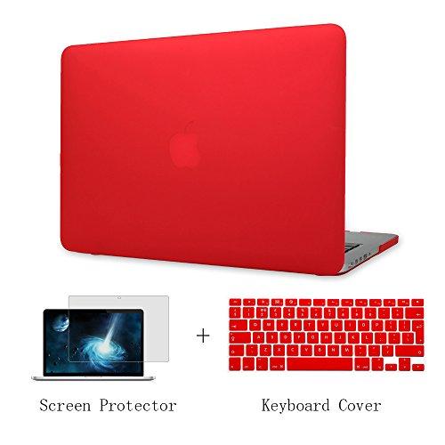 Batianda Plástico Funda Dura Carcasa para Old MacBook Air 13 pulgadas A1466 & Cubierta del Teclado & Protector de Pantalla (No para 2018 MacBook Air Retina A1932) ,Rojo