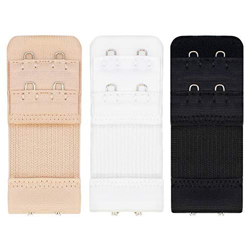 TRIXES 3PC BH Extender Strap Set - 2 Haken Verlängerungen - Mutterschaft BH - Pflege BH - komfortabel und elastisch - temporäre Gewichtszunahme - schwarz weiß Beige