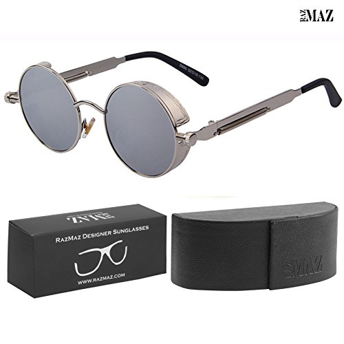 Round Steampunk Sun-Glasses by RazMaz for Women Men Latest Stylish - Designer Brand Polarized-Metal Lenses with Case - UV400 Protection