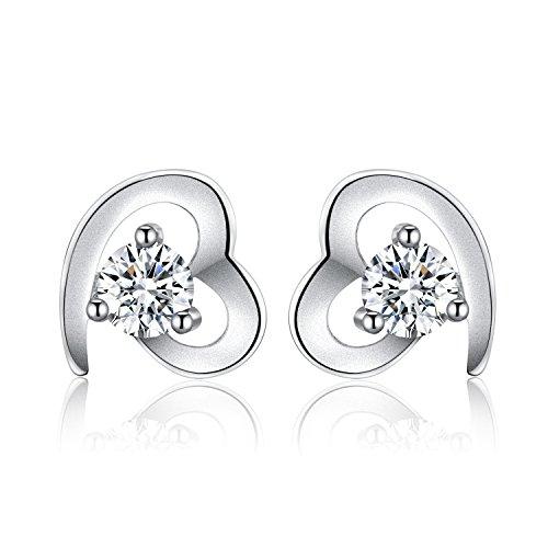 vasta selezione di b56cb 1de0c Twinmond - Orecchini da donna, a perno, in argento, con cuore d'amore, con  zirconia cubica - set regalo - per festa