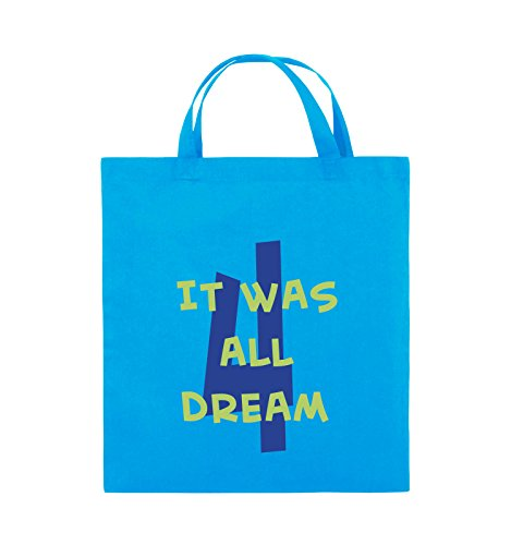 Comedy Bags - It was all four dream - GROßE ZAHL - Jutebeutel - kurze Henkel - 38x42cm - Farbe: Schwarz / Weiss-Neongrün Hellblau / Hellgrün-Royalblau