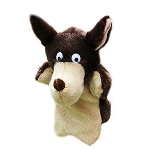 La Cabina Marionnette à Main-Mini Poupées à Main-Mignon Poupon à doigt-Cadeau pour Bébé Enfant -Marionnettes Peluches à Main-Poupées Impression Animaux Mignon-Jouets en Peluche (Loup)