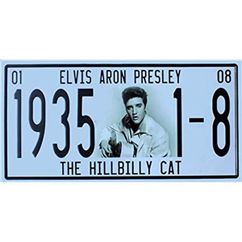 Facile Painter 30,5 x 15,2 cm Classique Lettres rétro Boîte en métal Vintage Signs Licence Décoration Murale Craft Cafe (Elvis Aaron Presley Le Hillbilly Cat)