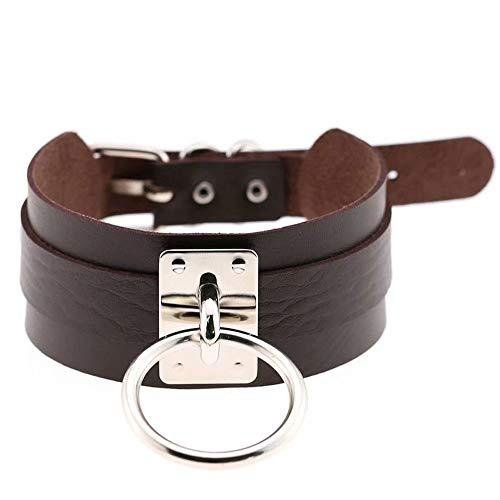 huzhixuan Harajuku PU Leder Single Ring Kragen Kragen, Street Shooting Nachtclub Wild O-förmige Halskette Halskette, kreative weibliche Schlüsselbein Kette