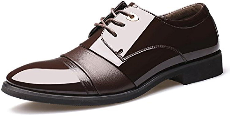 GRRONG Herren Leder Schuhe Geschaumlfts formales Kleid Schwarz Braun