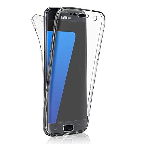 Custodia iPhone 7, Cover iPhone 7, Leweiany 3D Custodia in Silicone 360 Gradi Full Body Ultra Sottile Protezione e Premium Morbida Cristallo Crystal Clear Trasparente TPU Gomma Protettiva Cassa Bumper Bianca