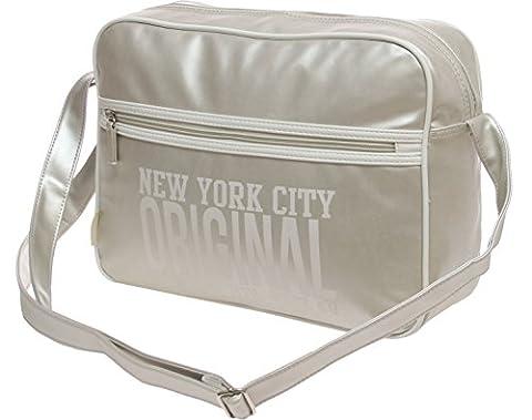 Schultasche Schulranzen Schultertasche Citybag Flugbegleiter Umhängetasche Business Messenger Bag Tasche (silber)