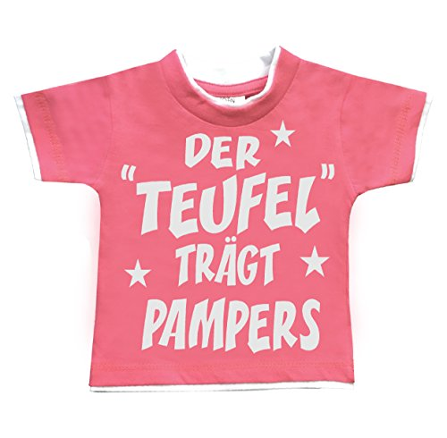 HomeOfSocks John Kids der Teufel trägt Pampers Lustige & Freche Kinder Baby T-Shirts Aus 100% Baumwolle Größen 74/80 Pink