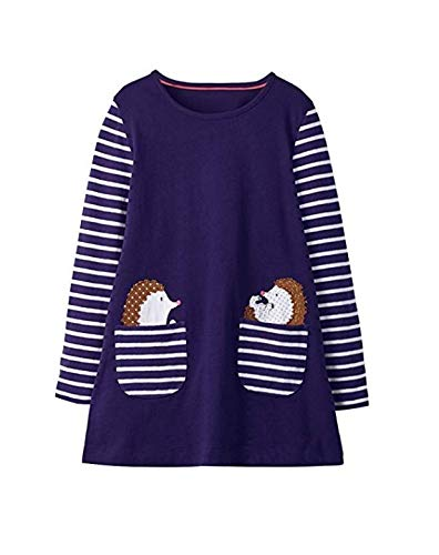 Nroom 1PCS Süße Mädchen Langarm Baumwolle Kind T-Shirt Prinzessin Kleid Igel 3T