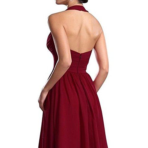 Find Dress Elégant Robe pour Mariage sans Manche Cocktail Décolleté au Dos Robe de Bal Vintage Mi Longue Anniversaire Gala Gown en Mousseline de Soie Taille Personnaliser Bleu