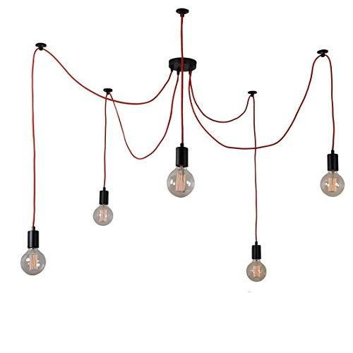 Filament Style 022 Spider Lamp puristische Deckenleuchte für 5 Globes E27 mit hochwertigem Textilkabel, rot (Globe Deckenleuchte)
