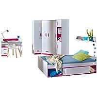 Preisvergleich für Mirjan24 Jugendzimmer Set Trafiko VI, 7-tlg. Komplett, Farbauswahl, Eckkleiderschrank, 2X Regal, Schreibtisch, Wandboard, Jugendbett, Container (Weiß/Weiß + Rosa)