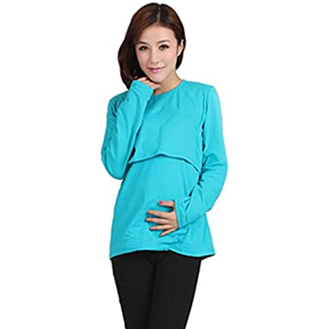 Koly Ropa de maternidad embarazada lactancia camiseta de manga larga lactancia tapas (L, Azul)