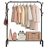 Lukzer 1 PC Multipurpose Clothes Rack with Bottom Shelves, Closet Organizer Coat Hanger/Freestanding Clothes Garment Stand Li