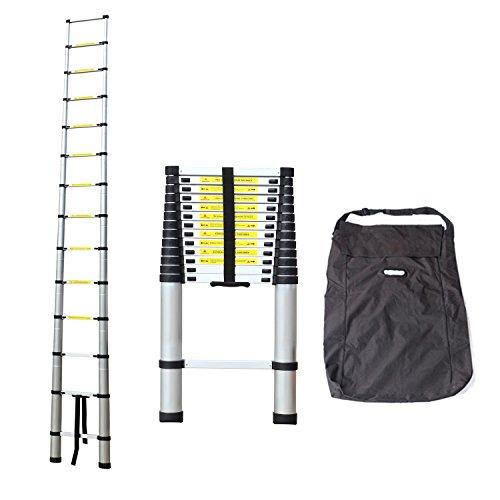 Todeco - Echelle Telescopique, Échelle Pliable - Charge maximale: 150 kg - Matériau: Alliage en aluminium - 4,1 mètre(s), Sac de transport OFFERT, EN 131