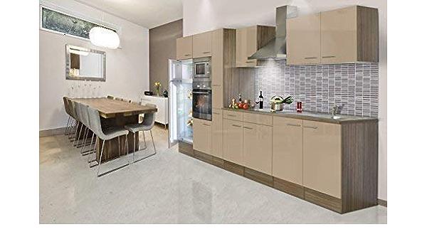 Respekta Fitted Kitchen Kitchenette 360 Cm Cappuccino Oak York Shine Amazon De Kuche Haushalt