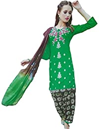 Kfashion Fab Women's Crepe Printed Unstitched Printed Embroidery Work Salwar Suit Dress Material