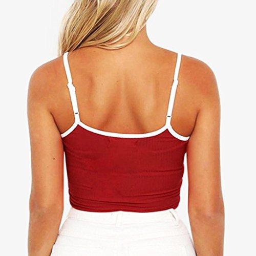 ADESHOP sans Manches Femmes Chic Bretelles Gilet Femmes Réglables Mode Tee Shirt Femmes Mode Loisirs Serré Chemises Femmes Col Rond Été sans Manches Top Grande Taille Gilet Vin rouge